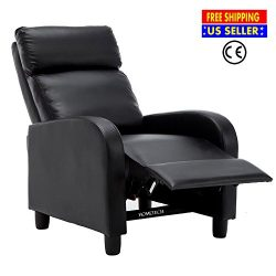 Recliner Chair for Living Room Black Single Modern Soft Leather Chaise Sleeper Sofa Lounge Couch ...