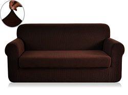 Chunyi 2-Piece Jacquard Polyester Spandex Sofa Slipcover (XL Sofa, Chocolate)