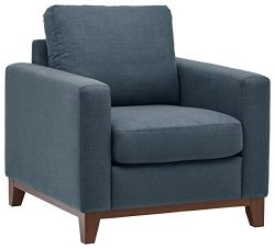 Rivet North End Exposed Wood Accent Chair, Denim