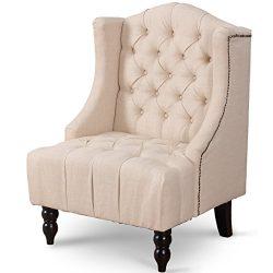 Giantex Sofa Tufted Tall Wingback Vintage Tufted Fabric Accent Chair Home Furniture Nailhead Arm ...