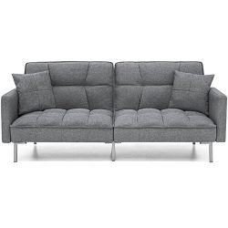 Best Choice Products Convertible Futon Linen Tufted Split Back Couch W/Pillows (Dark Gray)