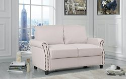 Sofamania Classic Living Room Linen Loveseat with Nailhead Trim and Storage Space (Beige)
