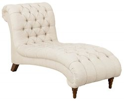 Homelegance St. Claire Traditional Style Chaise with Tufting and Rolled Arm Design, Brown/Almond