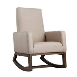 Esright Beige Fabric Rocker Morden Rocking Chair Comfortable Relax Upholstered Glider
