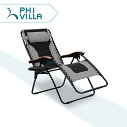 PHI VILLA Oversize XL Padded Zero Gravity Lounge Chair Patio Adjustable Recliner Wooden Armrest  ...