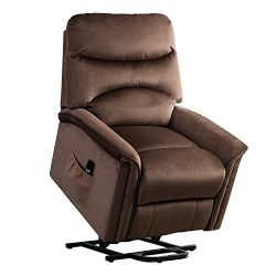 BONZY Lift Recliner Chair Power Lift Chair with Gentle Motor Velvet Cover – Chocolate