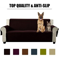 Aidear Anti-Slip Sofa Slipcovers Jacquard Fabric Pet Dog Couch Covers Protectors (Loveseat, Dark ...