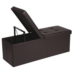 SONGMICS ULSF75BR Folding Ottoman Bench Storage Chest/Footrest/Padded Seat with Iron Frame Suppo ...