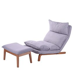 QVB Small Modern Sofa Chair Gray Tufted Floor Futon with Foot Rest for Sleeper, Gray Color