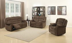 AC Pacific Bill Collection Contemporary 3Piece Living Room Upholstery Sofa Set with 5 Recliners, ...