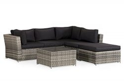 LAHAINA 4 Piece Wicker Sectional Sofa – All Weather Grey Wicker Patio Furniture W/Black Wa ...