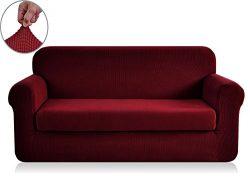 Chunyi 2-Piece Jacquard Polyester Spandex Sofa Slipcover (Sofa, Wine)