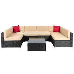 OAKVILLE FURNITURE Luxury Modern 7 Piece Outdoor Patio Garden Furniture Wicker Rattan Sectional  ...