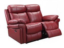 Oliver Pierce OP0041 Hudson Reclining Leather, Loveseat, Red