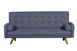 Pulaski DS-D052-680-288 Mid-Century Biscuit Tufted Click Sleeper Sofa with Bolster Pillows, 81.5 ...