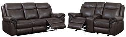 HOMES: Inside + Out IDF-6297-2PC Sienna Transitional 2-Piece Leather Sofa Recliner Set