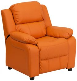 Flash Furniture Deluxe Padded Contemporary Orange Vinyl Kids Recliner with Storage Arms