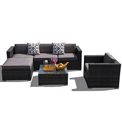 PATIOROMA Outdoor Furniture Sectional Sofa Set (6-Piece Set) All-Weather Dark Grey Wicker with C ...