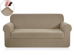 Chunyi 2-Piece Jacquard Polyester Spandex Sofa Slipcover (Loveseat, Sand)