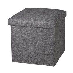 NISUNS OT01 Folding Storage Ottoman Cube Footrest Seat, 12 X 12 X 12 Inches (Linen Gray)