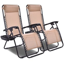 Giantex 2 PCS Zero Gravity Chair Patio Chaise Lounge Chairs Outdoor Yard Pool Recliner Folding L ...