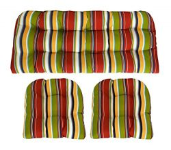 RSH Décor Indoor/Outdoor Wicker cushions Two U-Shape and Loveseat 3 Piece Set Covert Garden Mult ...