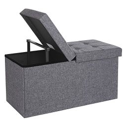 SONGMICS 30″ L Fabric Storage Ottoman Bench with Lift Top, Storage Chest Foot Rest Stool,  ...