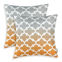 CaliTime Pack of 2 Canvas Throw Pillow Covers Cases for Couch Sofa Home Decor, Modern Gradient Q ...