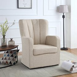 Modern Swivel Armchair, Rotating Accent Chair for Living Room with Pleated Back (Beige)