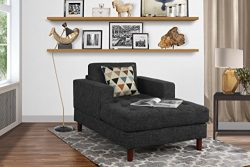 Mid Century Modern Linen Fabric Living Room Chaise Lounge (Dark Grey)