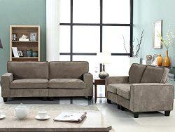 Harper&Bright Designs 2 Piece Sofa and Loveseat Set Living Room Sofa Set (Beige2)