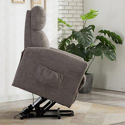BONZY Lift Recliner Chair Power Lift Chair with Gentle Motor Micro Fiber Covered – Gray