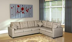 Oliver Smith – Large Beige Linen Cloth Modern Contemporary Upholstered Quality Sectional L ...