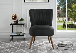Classic and Traditional Living Room Brush Microfiber Accent Chair with Tufted Details (Dark Grey)