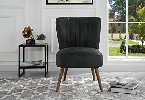 Classic and traditional living room brush microfiber accent chair with tufted details dark grey for Microfiber accent chairs living room
