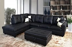 Home Garden Collections 3 Piece Faux Leather Contemporary Left-facing Sectional Sofa Set with Ot ...