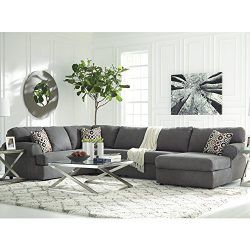 Flash Furniture Signature Design by Ashley Jayceon 3-Piece LAF Sofa Sectional in Steel Fabric