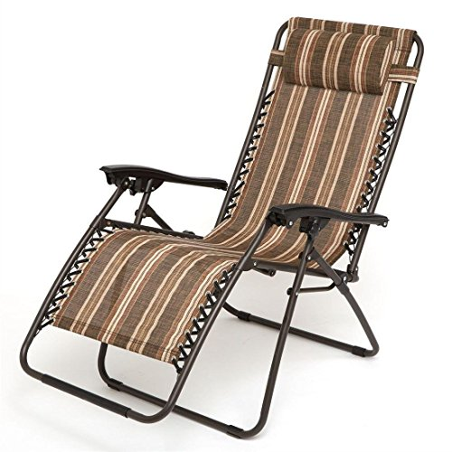 HOME BI Adjustable Zero Gravity Chair With Pillow, Folding Lounge Recliner  Chair For Outdoor/
