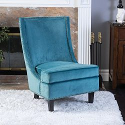 Christopher Knight Home 296308 Carole Velvet Accent Chair, Blue