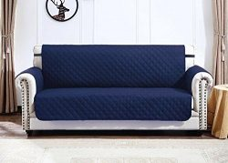 Argstar Deluxe Quilted Loveseat Cover Furniture Protector Reversible Navy Blue/Gray