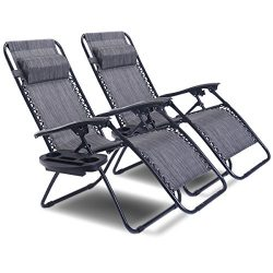 Goplus Zero Gravity Chair Set 2 Pack Adjustable Folding Lounge Recliners for Patio Outdoor Yard  ...