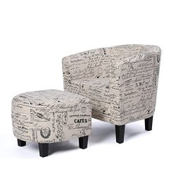 Belleze Accent Tub Chair Curved Back French Print Script Linen Fabric w/Ottoman Modern Stylish R ...