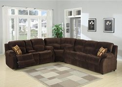 Christies Home Living 3 Piece Tracey Fabric Contemporary Reclining Room Sectional with Sofa Bed, ...