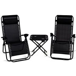 Giantex 3 PCS Zero Gravity Chair Patio Chaise Lounge Chairs Outdoor Yard Pool Recliner Folding L ...