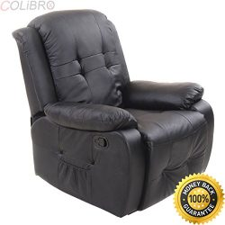 COLIBROX–Ergonomic Tufted Recliner Massage Sofa Chair Lounge Executive Heated w/ Control.  ...