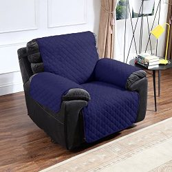 Argstar Recliner Furniture Protector Cover Reversible Deluxe Quilted Navy Blue/Gray
