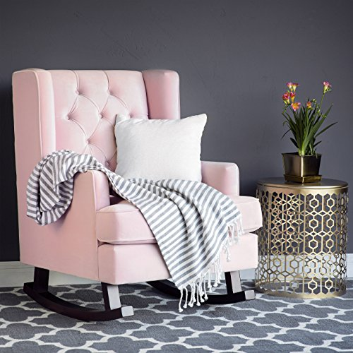 Best choice products tufted luxury velvet wingback rocking - Fabric rocking chairs living room ...