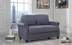 Sofamania Classic Living Room Linen Loveseat with Nailhead Trim and Storage Space (Blue)