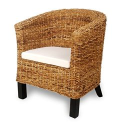 vidaXL Abaca Rattan Armchair Accent Woven Chair Living Room Seating Solid Mango