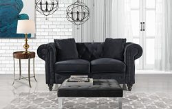 Divano Roma Furniture Classic Modern Scroll Arm Velvet Chesterfield Love Seat Sofa (Black)